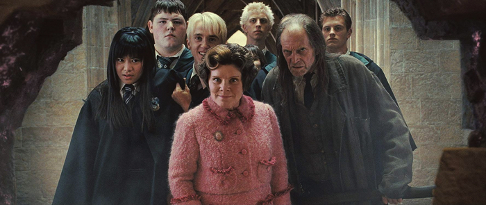 "Center pink clothes are unbridged from the movie ""Harry Potter and the Order of the Phoenix"""
