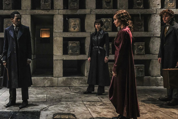 "The leftmost Yusuf Kama from the movie ""Fantastic Beasts: The Crimes of Grindelwald"" and the second from the right Leta Lestrange"