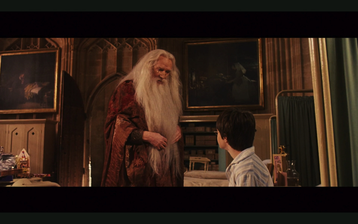 "Professor Albus Dumbledore (Richard Harris) from the movie ""Harry Potter and the Philosopher's Stone"""
