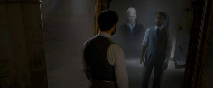From the movie 'Fantastic Beasts: The Crimes of Grindelwald' Albus Dumbledore and Gellert Grindelwald in the Mirror's Mirror